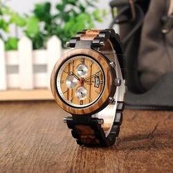 Bobo pássaro relógio masculino metal e de madeira luminoso movimento quartzo esporte relógio de pulso aceitar personalizar relogio masculino dropshipping