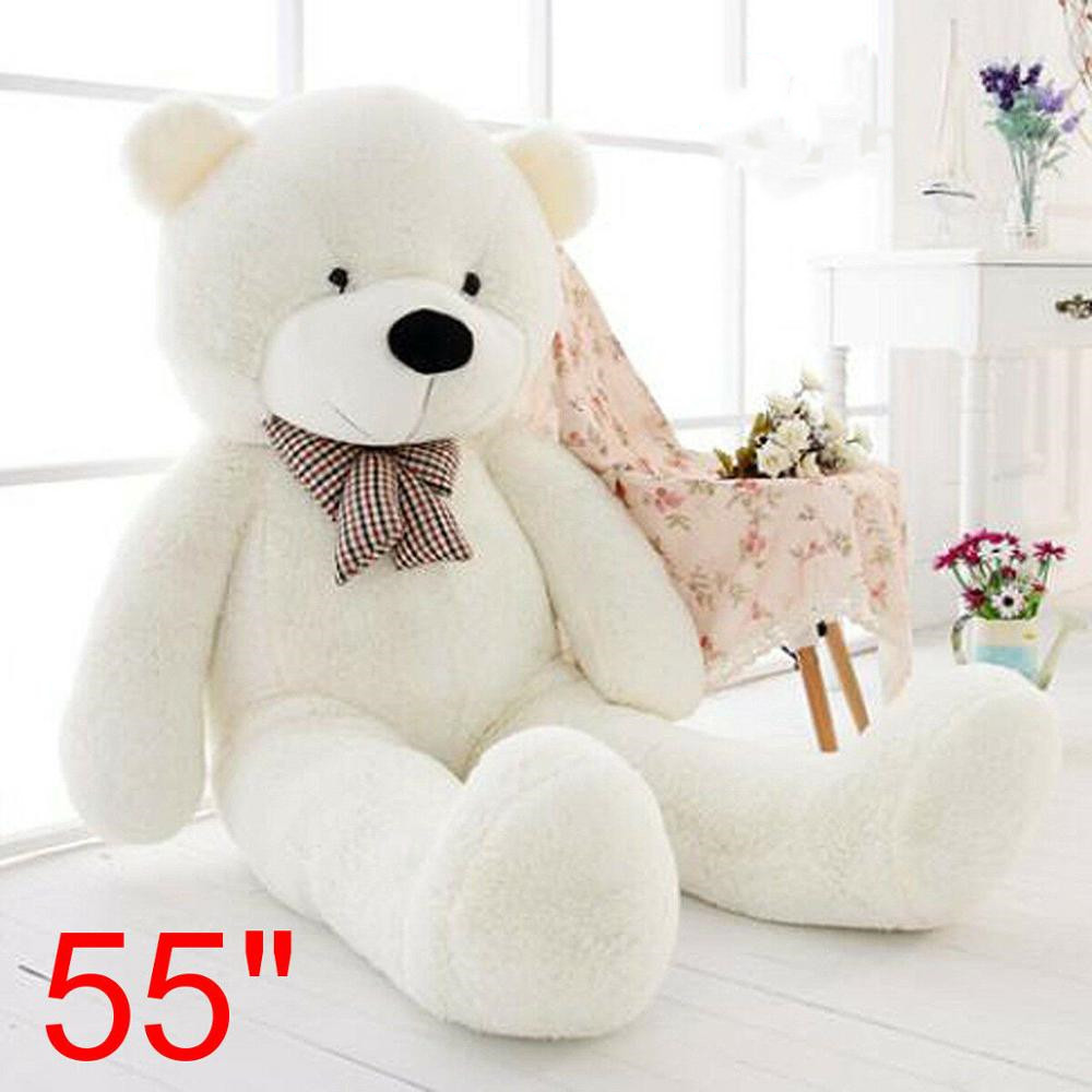 55 Inch Big Teddy Bear White Plush Soft Toys Doll Only Cover Case No Filled Gift US