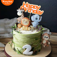 Forest Jungle Animals Giraffe Lion Monkey Theme Cake Topper Safari Party Supplies Happy Birthday Decoration Kids Favors