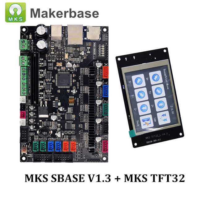 3D Printer Parts Control Board MKS SBASE V1.3 32 bit Platform Open Source Smoothieboard with MKS TFT32 V4.0 Smart Touch Screen