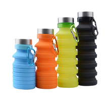 500ML Portable Silicone Water Bottle Retractable Folding Coffee Outdoor Travel Drinking Collapsible Sport Drink Kettle
