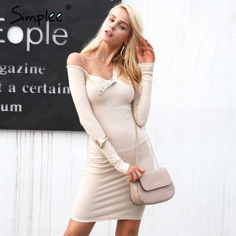 Simplee סתיו אחד כתף סקסית bodycon שמלת נשים ארוך שרוול אלסטי לבן שמלות חורף מסיבת מועדון שחור מיני שמלת 2017