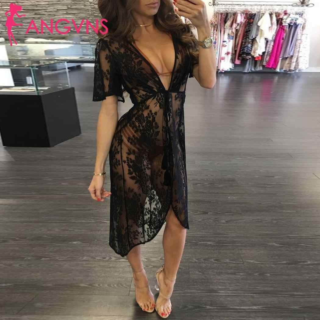 Women Casual Cardigan See Through Lace Drawstring Spring, Summer, Autumn Floral Casual, Swim Beach Cover up