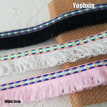 3CM Wide New white black pink Embroidery flower lace fabric trim ribbon DIY sewing applique collar fringe tassel dress decor