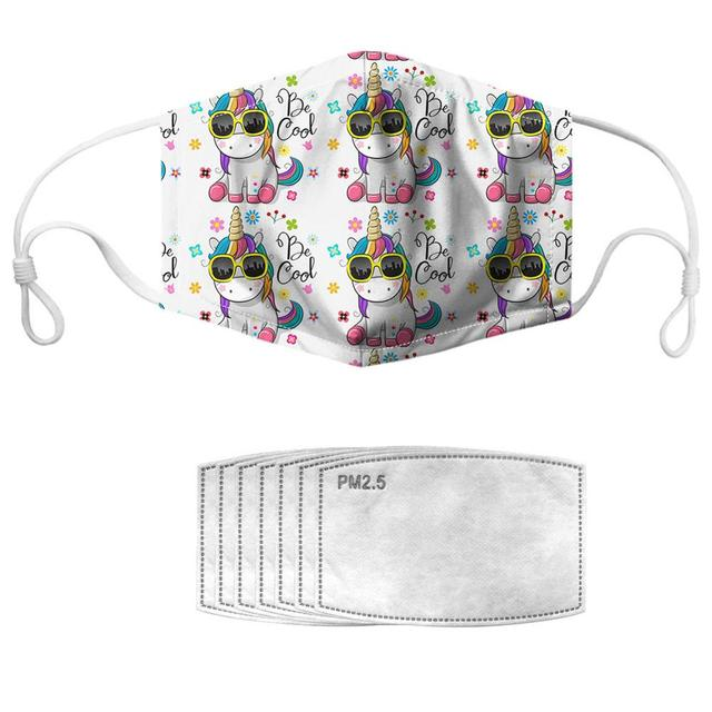 NOISYDESIGNS 1pc With 7pcs Filters Mouth Masks Adjustable Kpop Face Cover Masker Cool Horses Pattern Mascherine