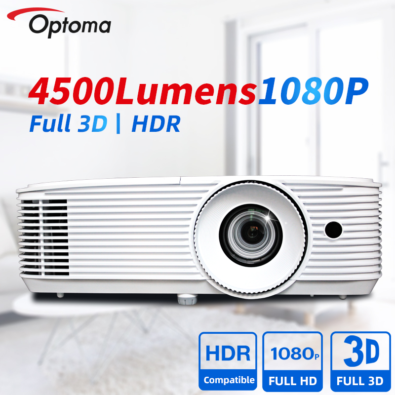 Проектор Optoma 1080P Full HD DLP, профессиональный проектор HDR, 4500 люмен, Blu-Ray 3D проектор для домашнего кинотеатра EH412