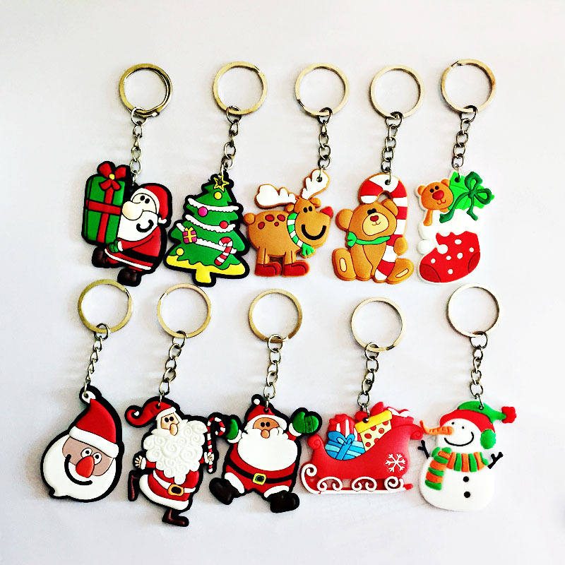Cute Cartoon Christmas Silicone Keychain Key Ring Christmas Santa Claus Gifts Simple Girls Jewelry Car Bag Accessories
