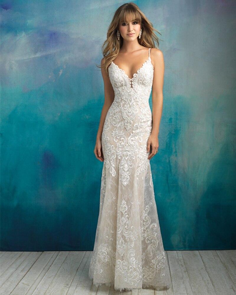 2019 New Arrive Gelinlik Spaghetti Straps V-neck Backless Beading Appliques Lace Sexy Mermaid Wedding Dress Vestido Noiva Sereia