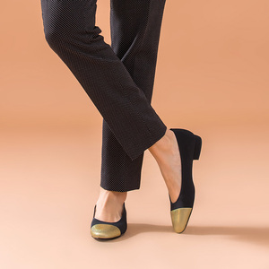 Image 2 - BeauToday 얕은 펌프 여성 정품 암소 가죽 천으로 라운드 발가락 슬립 온 봄 가을 레이디 로우 힐 신발 수제 18034