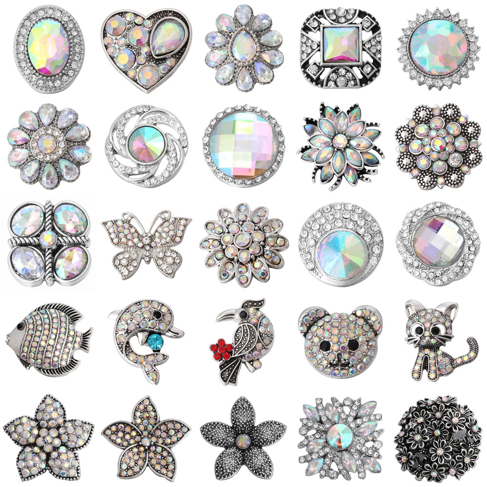 5pcs/lot New Snap Jewelry Vintage Metal Love Cat Butterfly Dolphin Bear Flower Charm 18mm Snap Button Jewelry for 18mm Snaps Bra