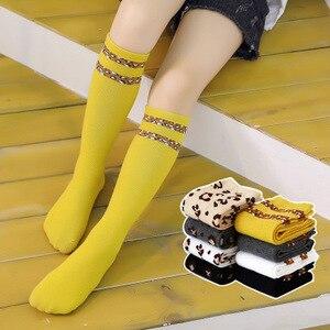 Image 2 - 아기 소녀 가을 겨울 무릎 높은 양말 표범 인쇄 줄무늬 부드러운 다리 따뜻하게 면화 긴 양말 소년 소녀 양말 1.3kg #40