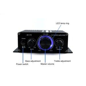 Image 2 - AK170 12 فولت صوت صغير مكبر كهربائي استقبال الصوت الرقمي أمبير قناة مزدوجة 20 واط + 20 واط باس ثلاثة أضعاف التحكم في مستوى الصوت للاستخدام المنزلي سيارة