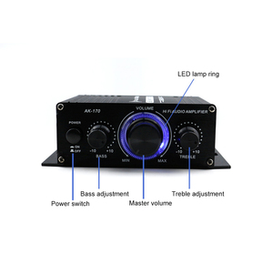Image 2 - AK170 12V Mini Audio Power Amplifier Digital Audio Receiver AMP Dual Channel 20W+20W Bass Treble Volume Control for Car Home Use