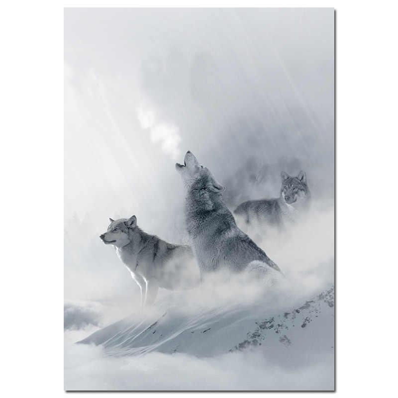 הר שלג וולף נוף פוסטר נורדי סגנון בד הדפסת אמנות ציור קיר תמונה לסלון מודרני בית תפאורה