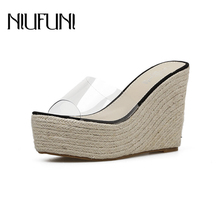 Transparent Wedge Platform NIUFUNI Jelly Sandals Slippers Sexy Casual Hemp Rope High Heels 11CM Women's Shoes Slides Size 34-40