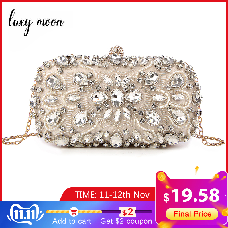 Luxy Moon Women Clutch Bag Diamond Rhinestone Pearls Beaded Wedding Clutch Purse Luxury Handbags Party Wallets Evening Bolsa
