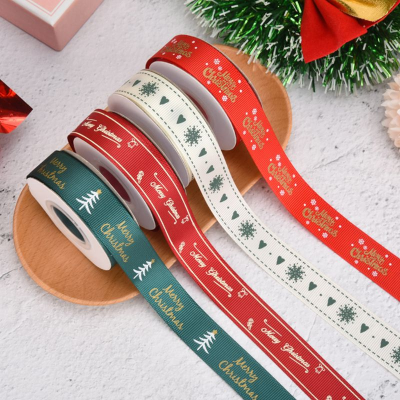 Merry Christmas Grosgrain Ribbon Red Green Snowflake Tree Print DIY Craft Decor 40JF