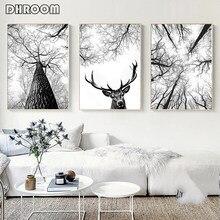 Skandinavischen Baum Print Jagd Poster Deer Antlers Wand Kunst Woodland Baum Minimalistischen Leinwand Malerei Home Zimmer Dekoration