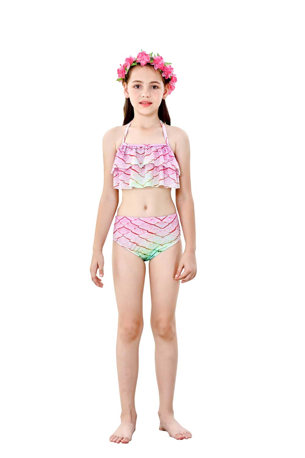 H77229c573efc455b9006c074e5237914y - 4PCS/Set HOT Kids Girls Mermaid Tails with Fin Swimsuit Bikini Bathing Suit Dress for Girls With Flipper Monofin For Swim