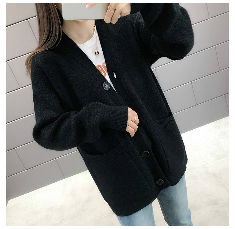Woherb Black Knitted Sweater Women V Neck Long Sleeve Solid Color Cardigan Vintage Harajuku Casual Loose Tops Fashion New 90728 14