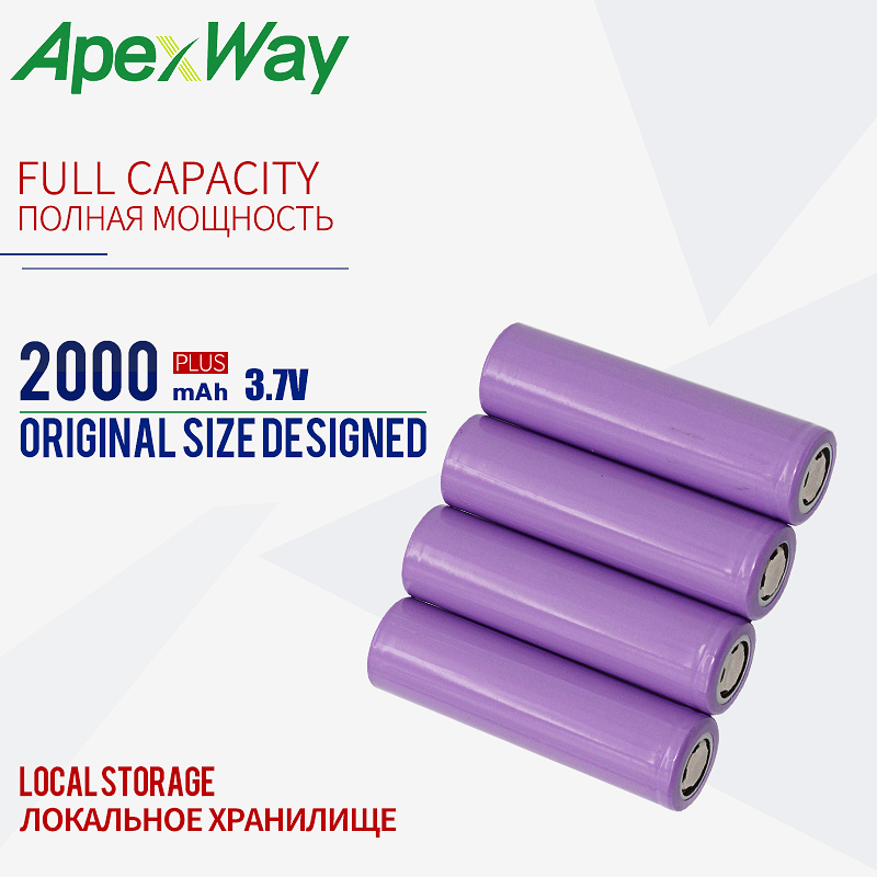 <font><b>40PCS</b></font> <font><b>18650</b></font> 3.7V 2000mAh Rechargeable Battery Purple [ Full Capcity ] for the assembly mobile power, notebook batteries, etc. image
