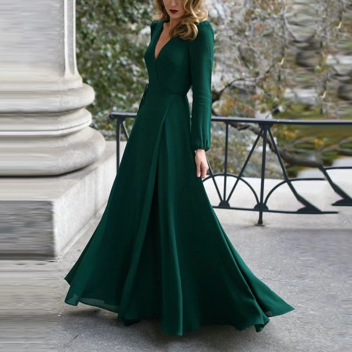 Sexy Elegant Women Deep V Neck Belted Long Maxi Dress Solid Color Split Hem Puff Long Sleeve Formal Party Wear Dress