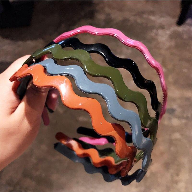 New Korean Women Colorful Wave Basic Hairbands Sweet Headband Hair Holder Head Band Hair Bands Headwear Fashion Hair Accessories