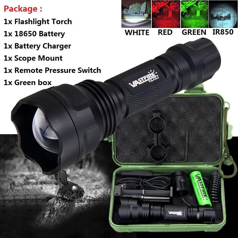 c8 verde vermelho branco ir 850 escolher lanterna tatica a prova dwaterproof agua portatil tocha luz
