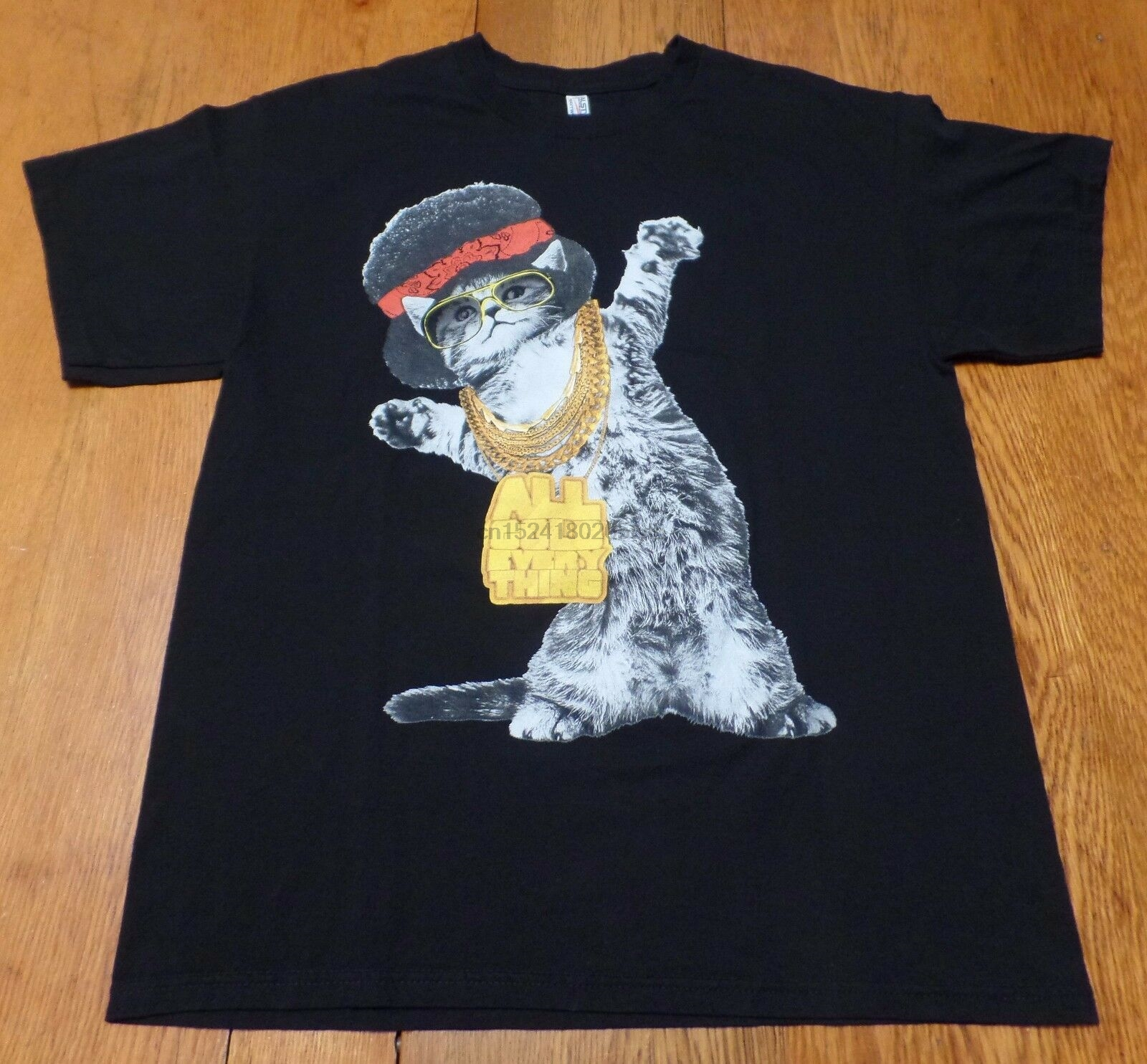 #3137-8 ALL GOLD EVERYTHING Gangsta Cat Graphic T-Shirt L