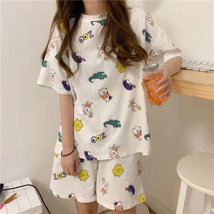 Spring Pyjamas Cartoon Short Women Pajamas For Women Pink Printing Pajamas Girs Cute Home Clothes Woman Clothes