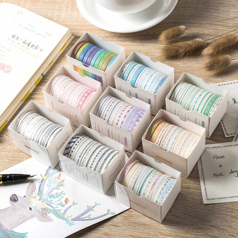 10Pcs Cute Pattern Washi Tape Kawaii Adhesive Tape Decor Masking Tape For Kid Scrapbooking DIY Photos Albums Supplies Stationery