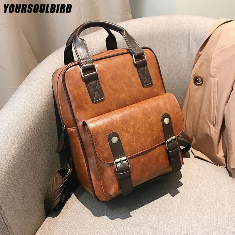 2019 Mochila Feminina Anti Theft School Bags Waterproof Travel Vintage Laptop Brown Leather Big Backpack Women Korean Designer
