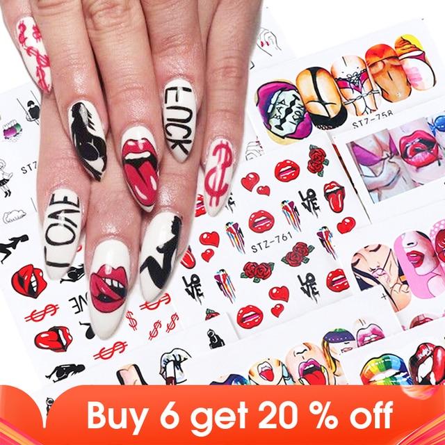 9pcs Sexy Girl Lips Slider Water Decals Nail Sticker Water Transfer Tattoo Wraps Adhesive Tip Manicure Decoration JISTZ756 765