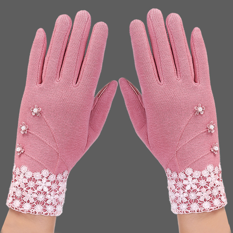 1 Pair Hot Fashion Autumn Winter Gloves For Women Suede Warm Comfortable Mittens With Bow Plus Velvet Thick Ladies Gloves