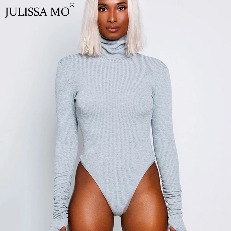 JULISSA MO Cotton Knitted Sexy Bodycon Bodysuit Women Black Long Sleeve Turtleneck Rompers Jumpsuit Basic Casual Femme Body Tops