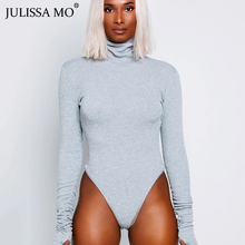 JULISSA MO Cotton Knitted Sexy Bodycon Bodysuit Women Black Long Sleeve Turtlene