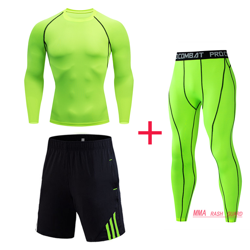Top Brand Men's Winter Compression Sportswear Men's Sports Leggings Set Fitness Running Set Men's MMA T-Shirt Tights 4XL