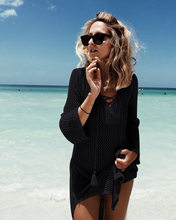 Beach Cover Up Bikini Crochet Knitted Tassel Tie Beachwear Summer Swimsuit Cover Up Sexy See-through Beach Dress(China)