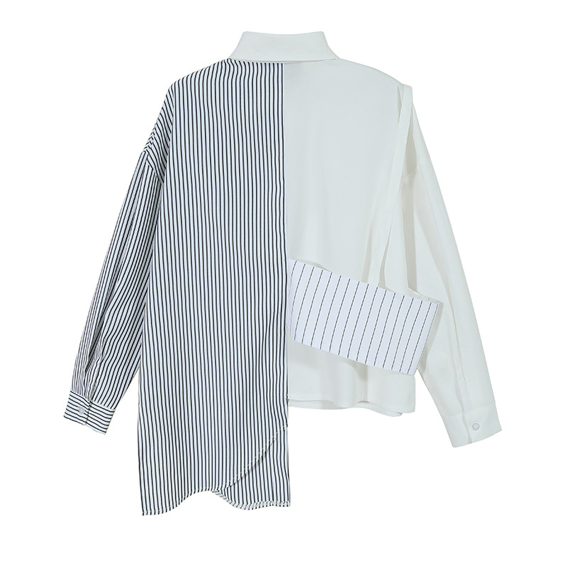 [EAM] Women White Stripe Dirregular Big Size Blouse New Lapel Long Sleeve Loose Fit Shirt Fashion Tide Spring Autumn 2020 1Z856