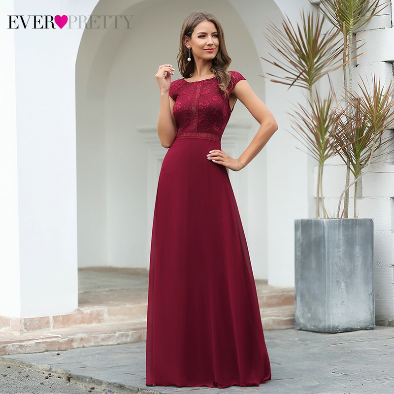 Burgundy Prom Dresses Long Ever Pretty A-Line O-Neck Cap Sleeve Elegant Floral Lace Formal Party Gowns Vestidos De Gala 2020