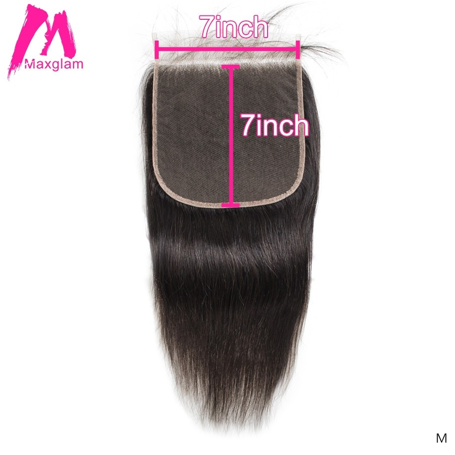 Brazilian Human Hair Transparent 7x7 Lace Closure Straight Natural Short Long remy hair Swiss Lace Pre Plucked for Black Women