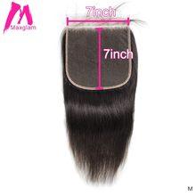 Perruque Lace Closure transparente brésilienne remy Hair, cheveux naturels, 7x7, lisse, courts et longs, Swiss Lace, pre-plucked, pour femmes noires