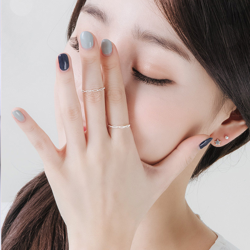 DAIWUJAN 925 Sterling Silver Simple Geometric Thin Opened Ring Korean Style Twisted Tail Ring Adjustable Women Jewelry