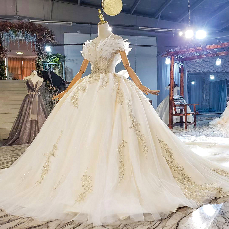 HTL1818 Sequined Beading Wedding Dress 2020 Short Sleeve Applique Ball Gowns Boat Neck Lace Up Back Off The Shoulder 3