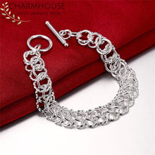 Pure Silver 925 Bracelets For Women Link Chain Bracelet Wristband Pulseira Fashion Jewelry Accessories Wholesale Bijoux vintage pure color layered link chain women s boot jewelry