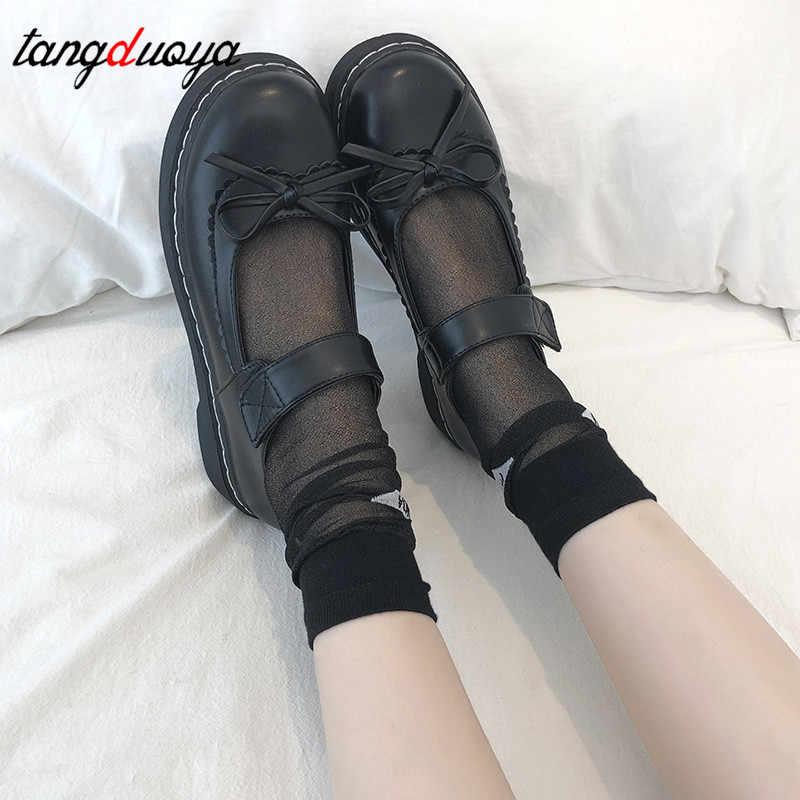 Lolita รองเท้า Kawaii รองเท้าสำหรับหญิง Harajuku ตุ๊กตารองเท้ารอบ Toe แพลตฟอร์มโบว์ VINTAGE zapatos mujer ผู้หญิงร้อนขาย