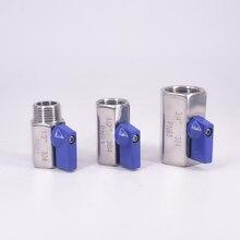 """1/"""" 1/4"""" 3/"""" 1/2"""" 3/"""" 1"""" BSP мини санитарный шаровой кран доморощенного пива SUS 304 нержавеющая сталь с синим приводом"""
