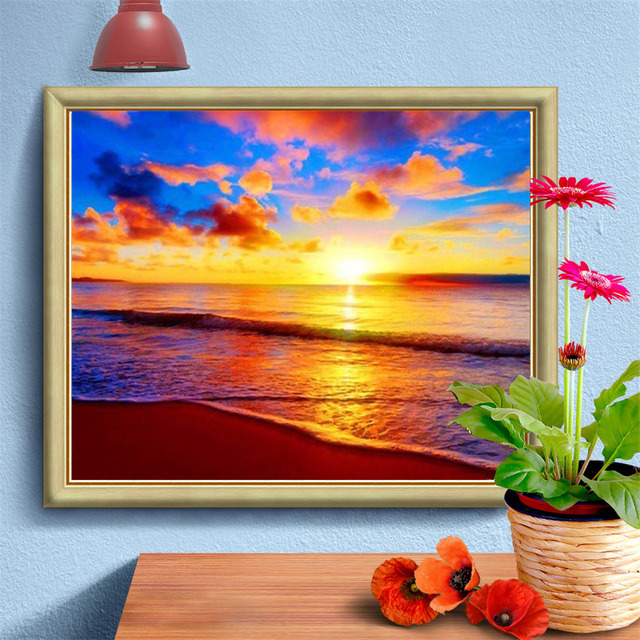 HUACAN Full Square 5D DIY Diamond Painting Scenic Rhinestone Sea Diamond Embroidery Sunset Cross Stitch Mosaic