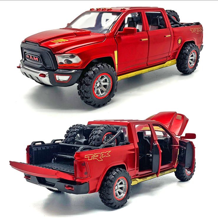 1: 32 imitation alloy Dodge Ram  pickup truck model with spare tire sound and light return toy for children's birthday