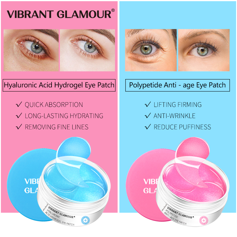 VIBRANT GLAMOUR Hyaluronic Acid Polypeptide Eye Mask Anti-Age Moisturizing Remove Puffiness Dark Circles Nourish Eye Care 60 pcs